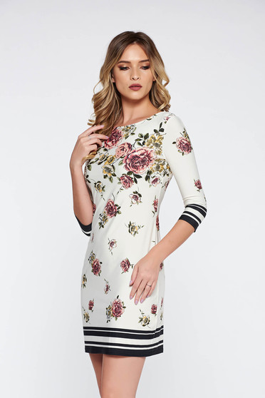 White daily dress from elastic fabric thin fabric with floral prints