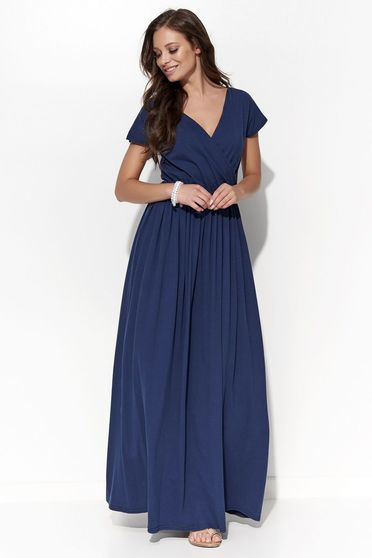 Folly darkblue dress casual cotton with v-neckline with elastic waist flared