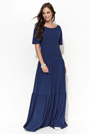 Folly casual with easy cut cotton short sleeve darkblue dress