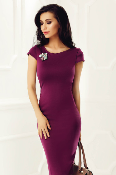 StarShinerS purple dress with tented cut non-flexible thin fabric with embroidery details