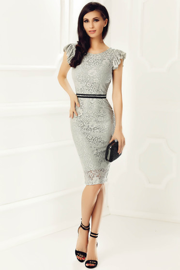 StarShinerS grey elegant pencil dress laced with inside lining accessorized with tied waistband with embellished accessories