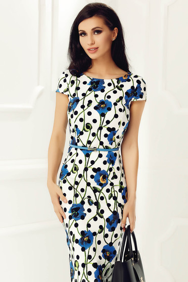 StarShinerS white dress office pencil slightly elastic cotton accessorized with belt midi