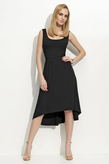 Folly black dress casual sleeveless asymmetrical thin fabric flaring cut