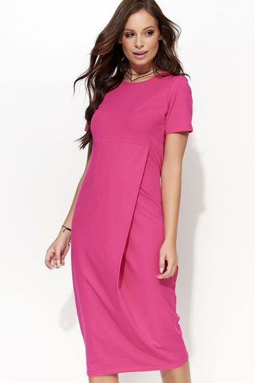 Folly fuchsia dress casual short sleeve midi cotton