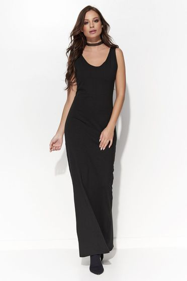 Folly black dress casual maxi dresses with a cleavage sleeveless cotton with tented cut