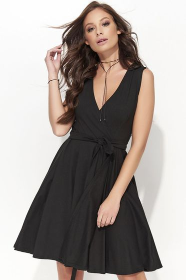 Folly casual flaring cut cotton sleeveless black dress with a cleavage