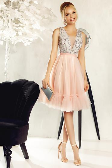 Fofy rosa dress occasional laced from tulle embroidered with 3d effect