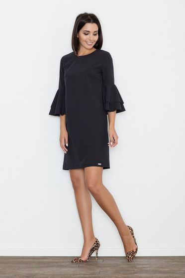 Figl black elegant dress with straight cut with bell sleeve slightly elastic fabric