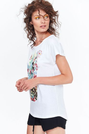 Top Secret white t-shirt casual cotton with easy cut with print details