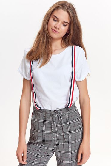 Top Secret white t-shirt casual cotton with easy cut short cut