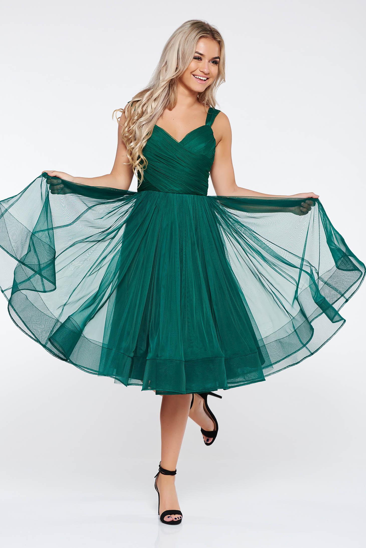 81ea44b474 Zöld Ana Radu harang ruha szivacsos mellrész tüll belső béléssel