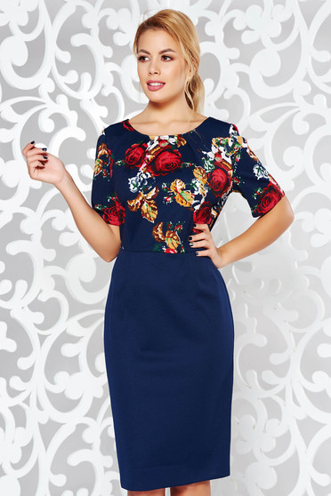 Darkblue office pencil dress from elastic fabric with floral prints