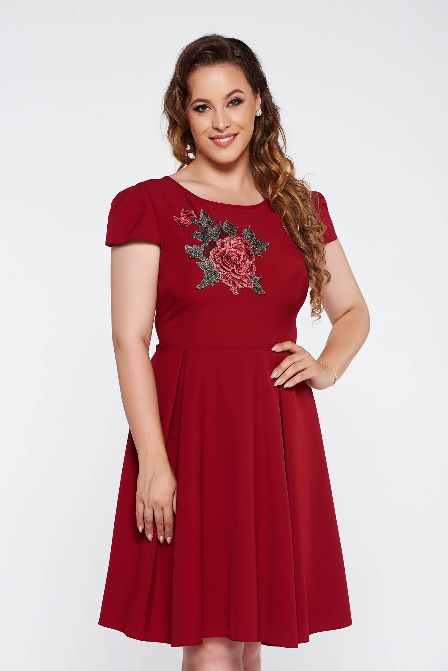 Burgundy elegant cloche dress slightly elastic fabric with embroidery details