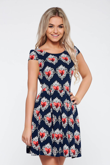 Darkblue daily cloche dress slightly elastic fabric with print details thin fabric