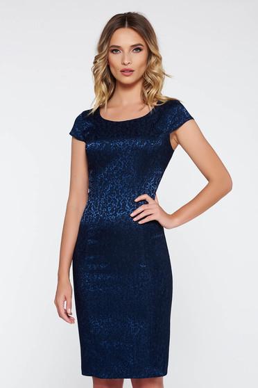 Darkblue elegant pencil dress from jacquard short sleeves