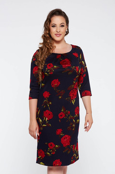 Darkblue office flared dress slightly elastic fabric from soft fabric with floral prints