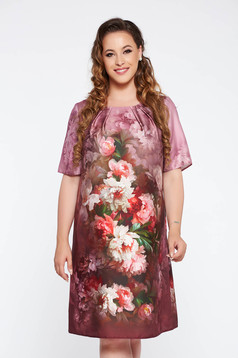 Purple elegant flared dress from satin fabric texture with floral prints