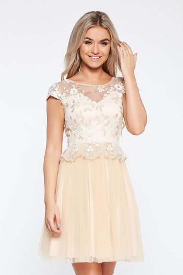 Cream occasional cloche dress from tulle with inside lining with embroidery details