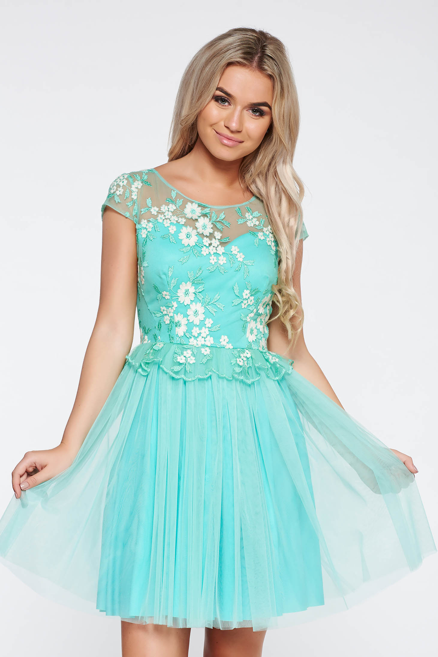Mint occasional cloche dress from tulle with inside lining with embroidery details