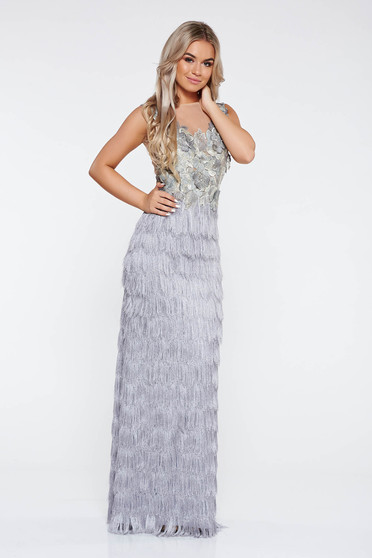 LaDonna grey occasional dress with fringes nonelastic fabric from laced fabric with small beads embellished details