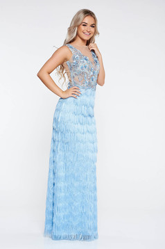 LaDonna lightblue occasional dress with fringes nonelastic fabric from laced fabric with small beads embellished details