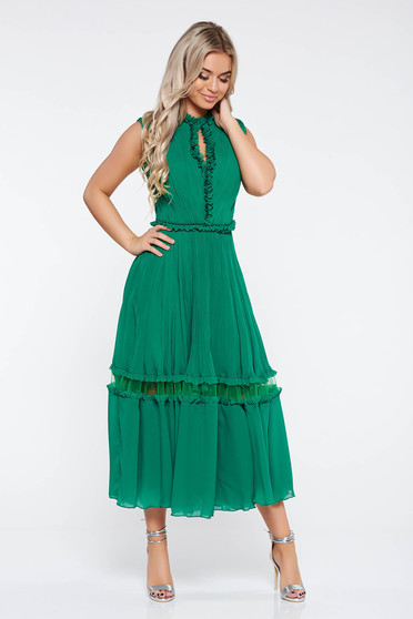 Green occasional cloche dress airy fabric with inside lining with ruffle details