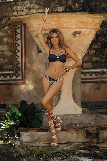 Darkblue swimsuit with classical slip with balconette bra adjustable straps detachable straps from shiny fabric