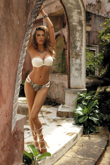 Cream swimsuit with classical slip with balconette bra adjustable straps detachable straps from shiny fabric