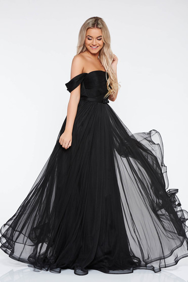 Ana Radu black luxurious dress from tulle with inside lining corset accessorized with tied waistband