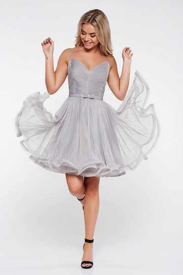 Grey Ana Radu cloche dress luxurious with v-neckline from tulle with inside lining with straps