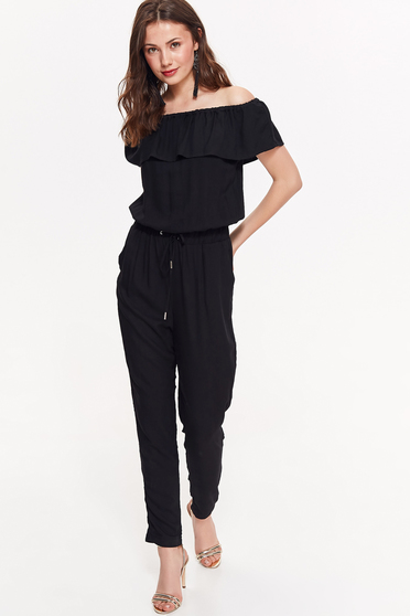 Top Secret black casual flared jumpsuit airy fabric with elastic waist