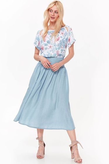 Top Secret blue casual cloche skirt high waisted thin fabric nonelastic fabric
