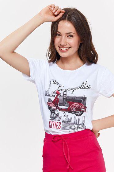 Top Secret white casual flared short cut t-shirt nonelastic cotton with print details