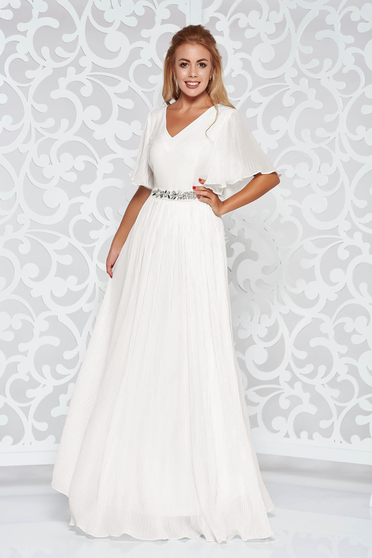 StarShinerS white dress from veil fabric with inside lining occasional accessorized with tied waistband with embellished accessories