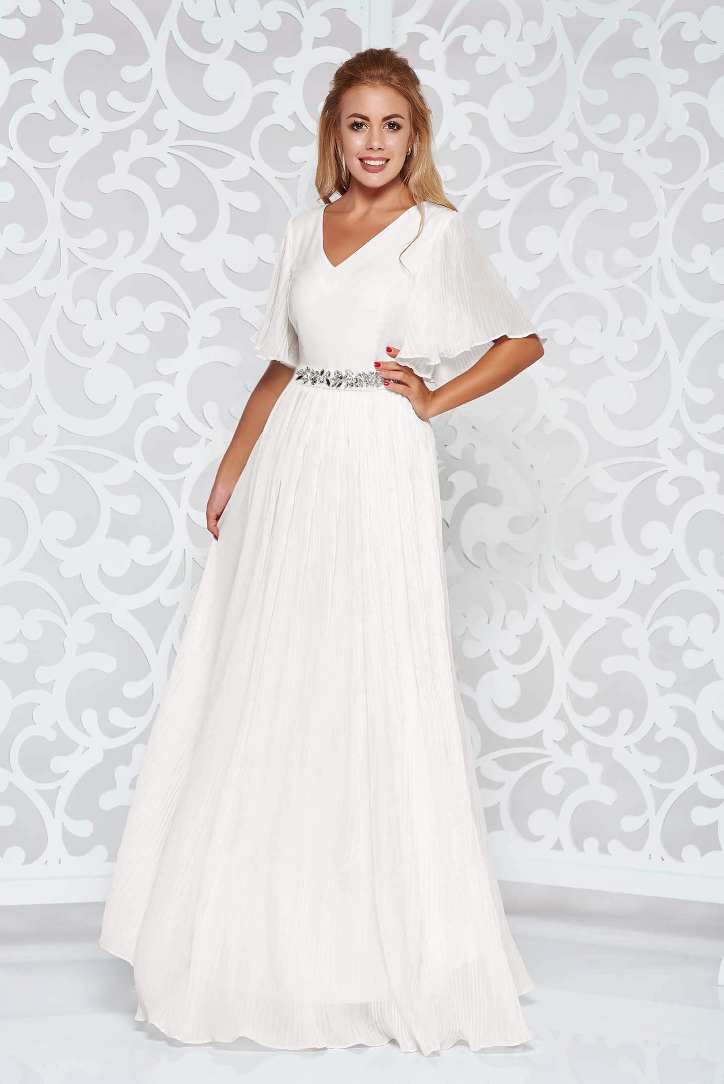Fehér StarShinerS alkalmi fátyol ruha belső béléssel övvel ellátva strassz  köves kiegészítővel 26977a4014