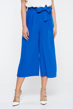 Blue elegant flared trousers with pockets accessorized with tied waistband nonelastic fabric