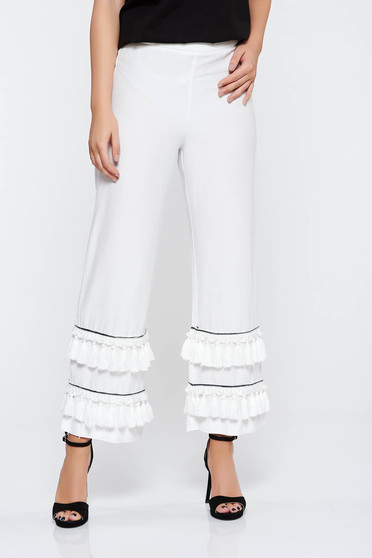 White elegant trousers nonelastic fabric high waisted with tassels