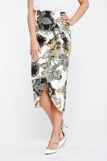 White elegant asymmetrical skirt from non elastic fabric high waisted