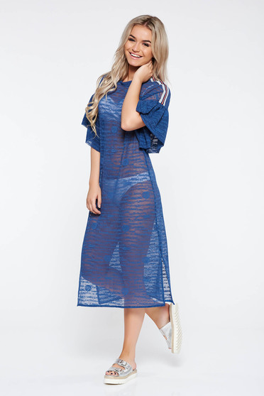 StarShinerS blue casual flared dress slightly elastic fabric transparent fabric with ruffled sleeves