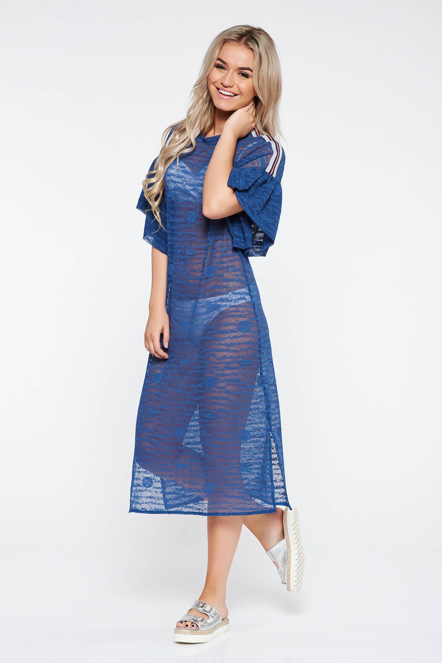 Kék StarShinerS casual bő szabású ruha enyhén rugalmas anyag áttetsző anyag  fodrozott ujjakkal d6ae881bee