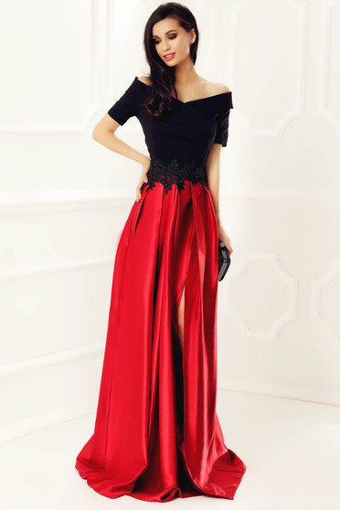 Occasional Artista red dress from satin fabric texture with embroidery details on the shoulders cloche