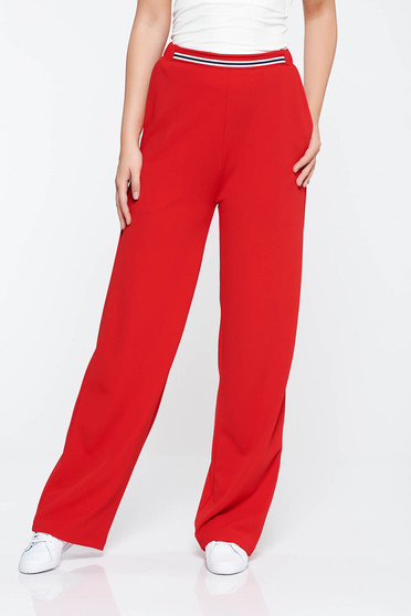 StarShinerS red casual flared trousers from elastic fabric with pockets with medium waist