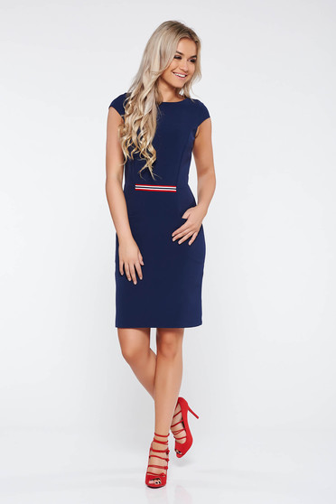 StarShinerS darkblue office dress from elastic fabric with tented cut with pockets