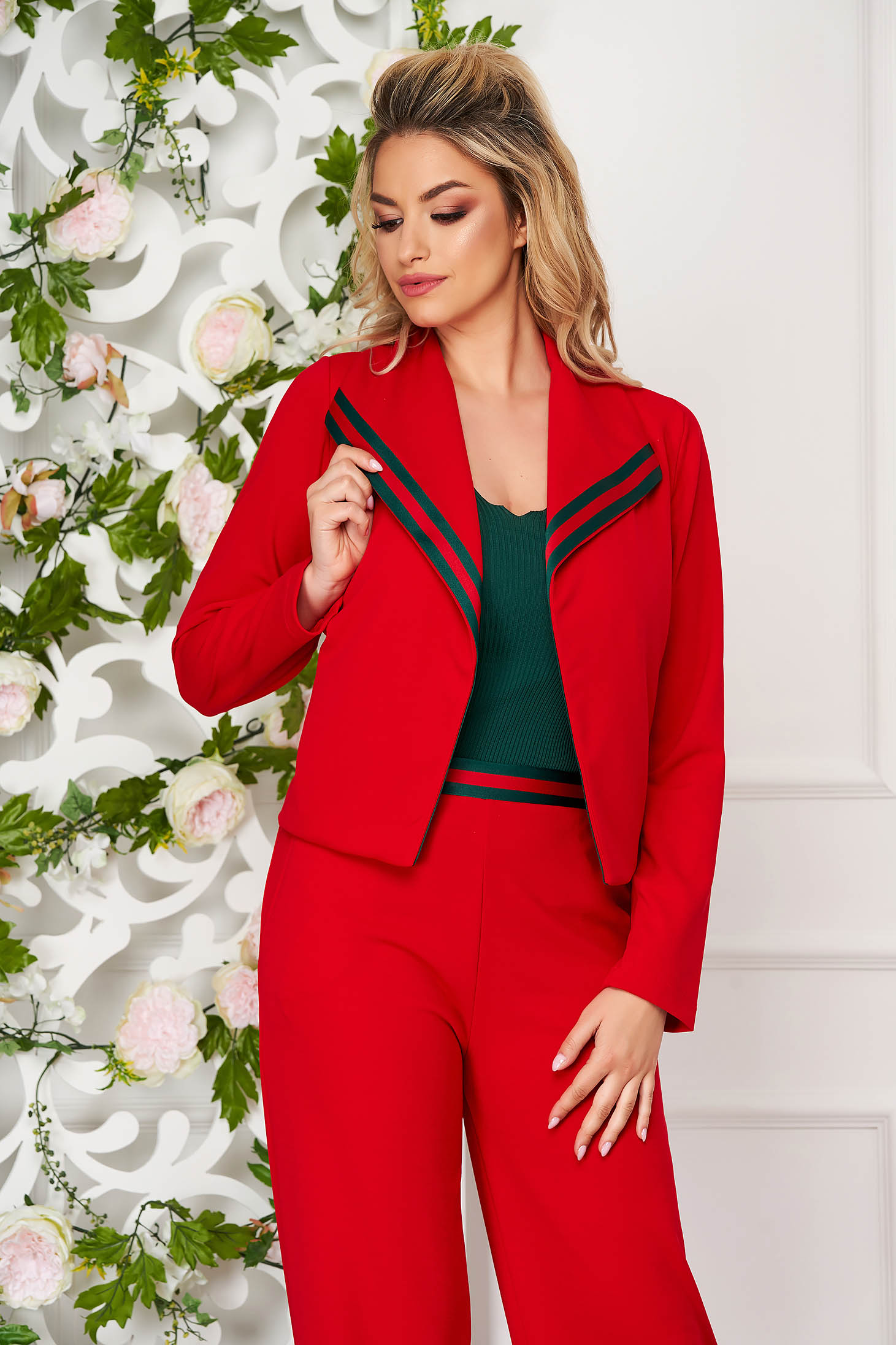StarShinerS red casual with easy cut cardigan from elastic fabric with pockets