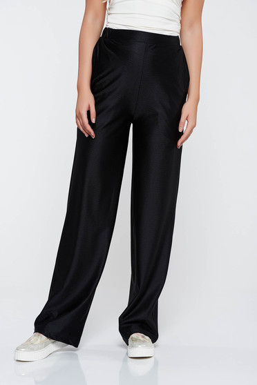 StarShinerS black trousers casual flared high waisted from elastic fabric with pockets