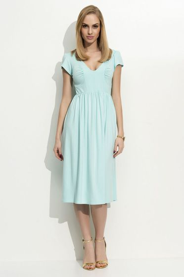 Folly casual short sleeve midi with v-neckline cloche thin fabric mint dress