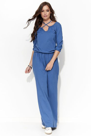 Folly blue dress casual 3/4 sleeve cotton flared
