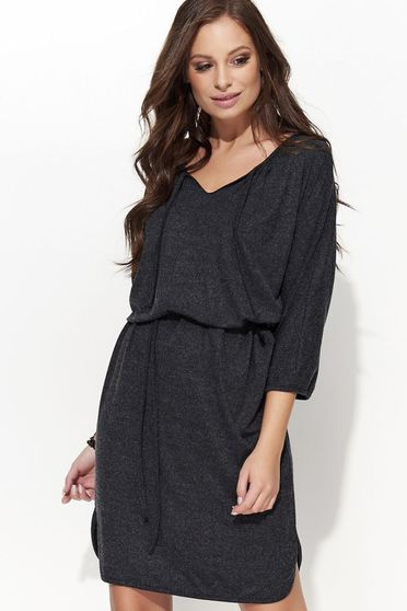Folly darkgrey dress casual flared slightly elastic fabric is fastened around the waist with a ribbon