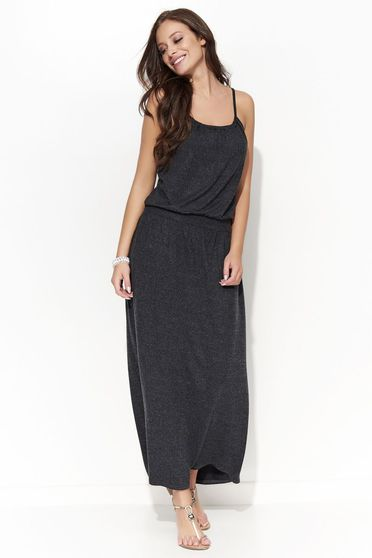 Folly casual long slightly elastic cotton with braces darkgrey dress