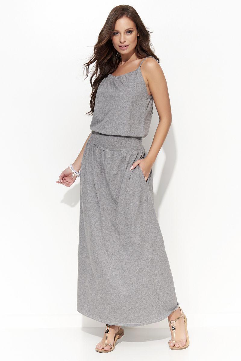 18ddb30015 Szürke Folly casual hosszú enyhén elasztikus pamut pántos ruha